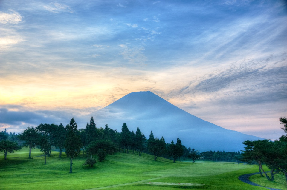 A view of Mount Fuji in the distance from Fuji golf course. What's it like to golf in Japan?
