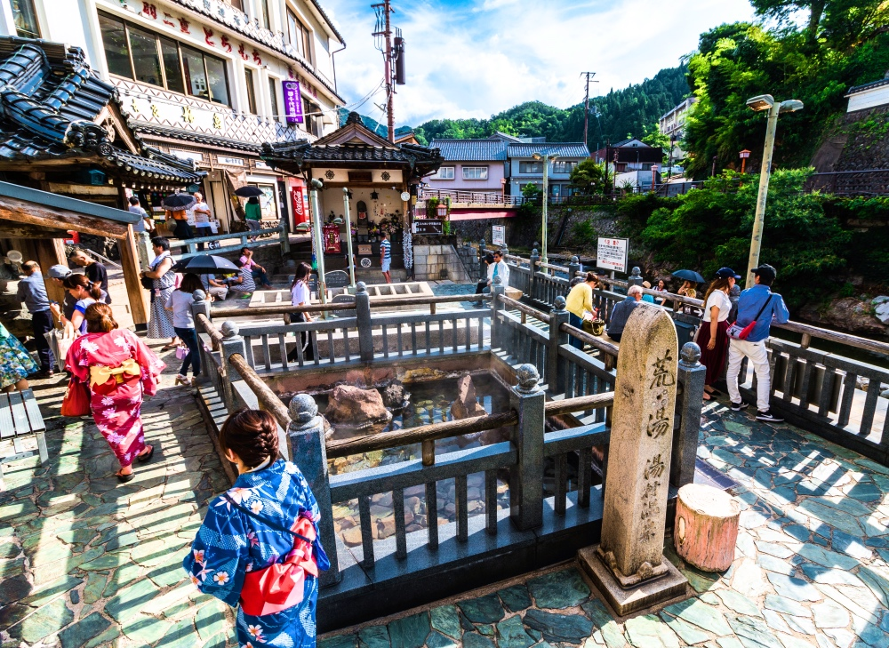 Yumura Onsen is a hot spring located in Mikata prefecture,Hyogo Japan