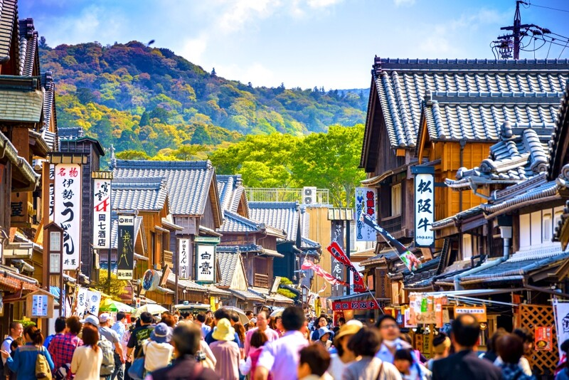 Crowded historic shopping street mie prefecture
