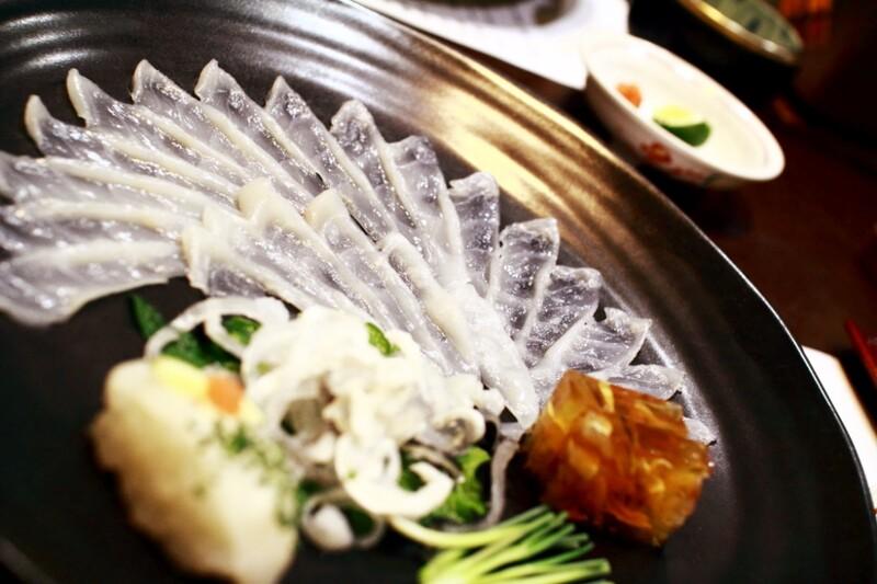 Plate of fugu puffer fish in Yamaguchi