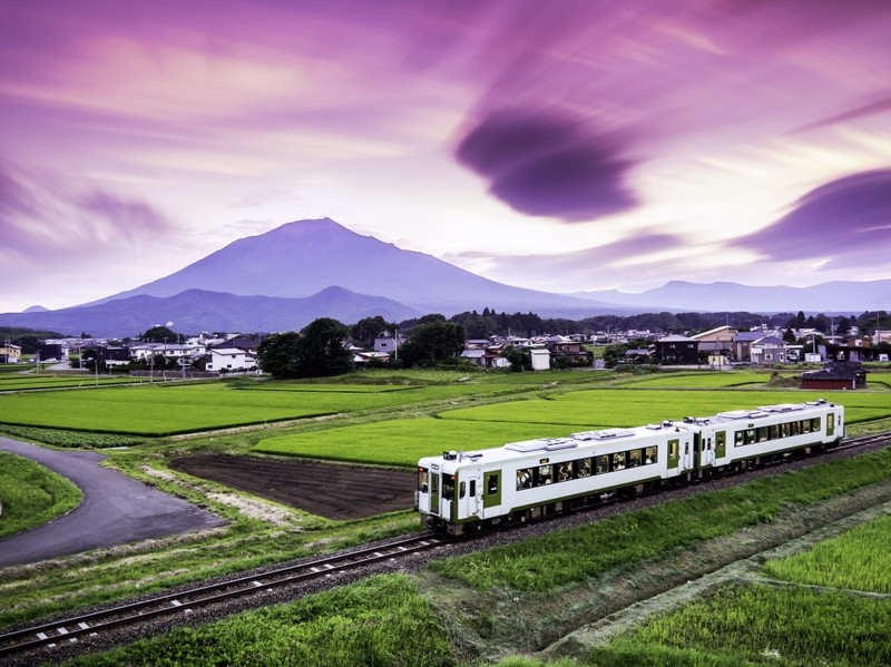 Iwate Mountain, train and fields