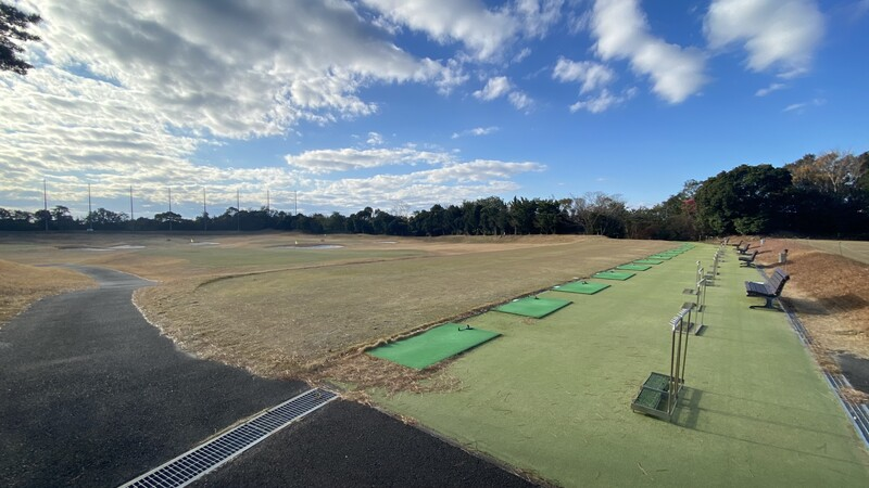 Driving range and practice facilities at Kintetsu Kashikojima Country Club golf course in Mie prefecture, Japan