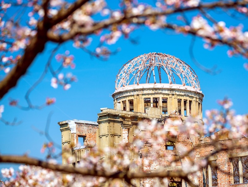 Hiroshima Peace Dome with Cherry Blossoms