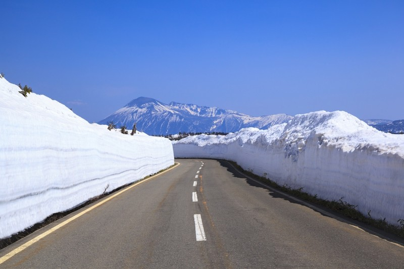 Snow road corridor in Iwate