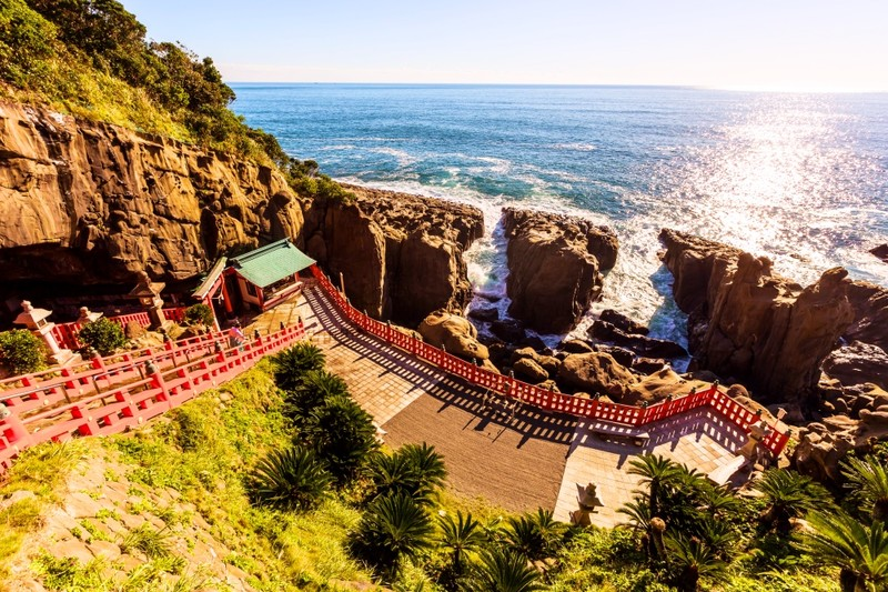 Udo shrine is on a cliff overlooking the sea in Miyazaki
